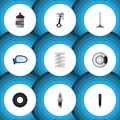 Flat Icon Parts Set Of Metal, Car Segment, Combustion And Other Vector Objects. Also Includes Conrod, Crankshaft Royalty Free Stock Photo
