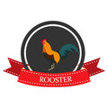 Flat icon of a rooster with the name