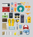 Flat Icon Set of Backpack Travel on Summer Holiday