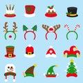 Flat icon set Christmas carnivals caps. Santa Claus hat.