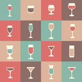 Flat icon set drink, cocktail, Royalty Free Stock Photo