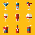 Flat icon set. Drink. Cocktail Royalty Free Stock Photo