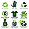 Flat icon set for eco friendly recycling