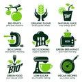Flat icon set for green eco kitchen Royalty Free Stock Photo