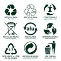 Flat icon set for green eco packaging Royalty Free Stock Photo