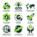 Flat icon set for green eco planet Royalty Free Stock Photo
