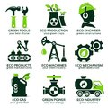 Flat icon set for green eco production Royalty Free Stock Photo