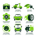 Flat icon set for green eco urban traffic
