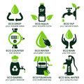 Flat icon set for green eco water Royalty Free Stock Photo
