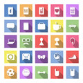 Flat icon set with long shadow for web and mobile applications thematic collection of business calendar hipster sport rock concert Royalty Free Stock Image