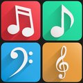 Flat icon set music for Web and Application. Stock Photo
