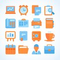 Flat icon set office and business symbols finance design elements supplies Royalty Free Stock Photography