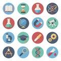 Flat icon set of scientific tools