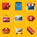 Flat icon set. Shop Royalty Free Stock Photo