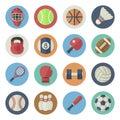 Flat icon set of sport equipment