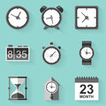 Flat icon set. Time. Clock. White style Royalty Free Stock Photo