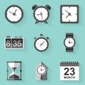 Flat icon set. Time. Clock. White style Royalty Free Stock Photo