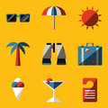 Flat icon set travel vector illustration in eps Stock Photos