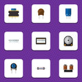 Flat Icon Technology Set Of Microprocessor, Memory, Resistor And Other Vector Objects. Also Includes Resistance, Drive