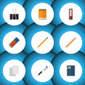 Flat Icon Tool Set Of Notepaper, Drawing Tool, Pencil And Other Vector Objects. Also Includes File, Memo, Notebook