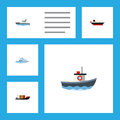 Flat Icon Vessel Set Of Sailboat, Cargo, Tanker And Other Vector Objects. Also Includes Yacht, Ship, Boat Elements. Royalty Free Stock Photo