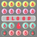Flat icons of All Type Blood in gray background. Pastel Flat icons. Medical knowledge. 14th june. World blood donor day