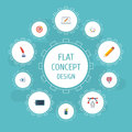 Flat Icons Artist, Arrow, Pencil And Other Vector Elements. Set Of Original Flat Icons Symbols Also Includes Goal
