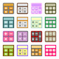Flat icons of calculators set colorful stylized Stock Photo