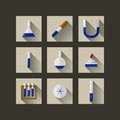 Flat icons for chemistry square white on gray laboratory ware with blue liquid Royalty Free Stock Images