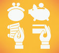 Flat icons collection banking and money on bright orange background Stock Image