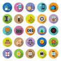Flat icons collection with long shadow set gadget entertainment Royalty Free Stock Photo