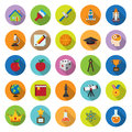 Flat icons collection with long shadow set science and education elements of this image furnished by nasa Royalty Free Stock Image