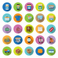 Flat icons collection with long shadow set shopping Stock Photo