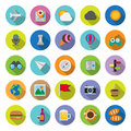 Flat icons collection with long shadow set travel entertainment elements of this image furnished by nasa Stock Photos