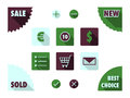 Flat icons for e shop set of vector with corners square and round eshop with retro colors Royalty Free Stock Image