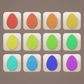 Flat icons easter eggs set of with colored on a dark background Stock Image