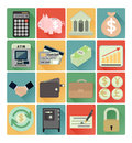 Flat icons finance set vector colorful Stock Image