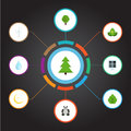 Flat Icons Foliage, Night, Tree And Other Vector Elements. Set Of Green Flat Icons Symbols Also Includes Nature, Night