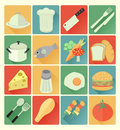 Flat icons food set vector colorful Stock Image