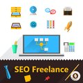 Flat icons for freelance or seo set of colored and business on white Royalty Free Stock Photo