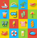 Flat icons of holiday journey, summer symbols, sea leisure