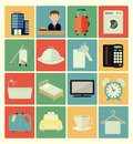 Flat icons hotel set vector colorful Royalty Free Stock Photo
