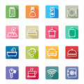 Flat icons hotel travel and white background