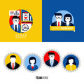 Flat icons of human resources business partnership teamwork modern vector Stock Image