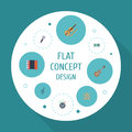 Flat Icons Knob, Fiddle, Tape And Other Vector Elements. Set Of Audio Flat Icons Symbols Also Includes Music, Acoustic
