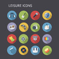 Flat icons for leisure music and entertainment vector eps with transparency Royalty Free Stock Image