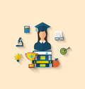 Flat icons of magister female with graduation and objects illustration for high school college education teaching Stock Photo