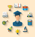 Flat icons of magister and objects for high school and college illustration education with teaching learning long shadow style Stock Images