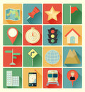 Flat icons map set vector colorful Royalty Free Stock Photos
