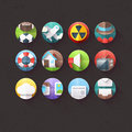 Flat icons for mobile and web applications set textured Stock Image